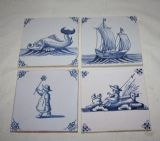 FOUR VINTAGE DELFT BLUE & WHITE TILES  Ref: AT1